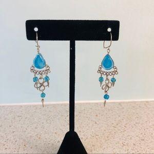 Blue Glass Dangle Handmade Earrings